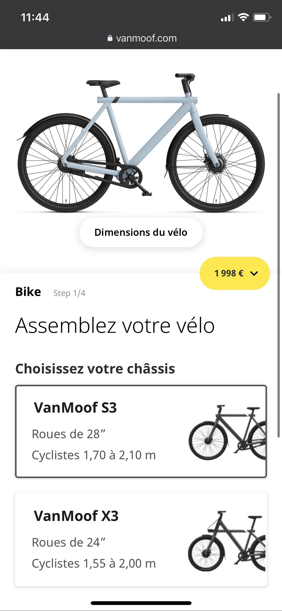 Choix modèle Vanmoof X3 S3